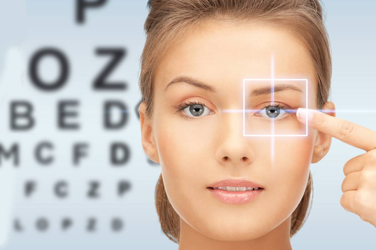 blonde woman putting in contacts in front of eye exam chart